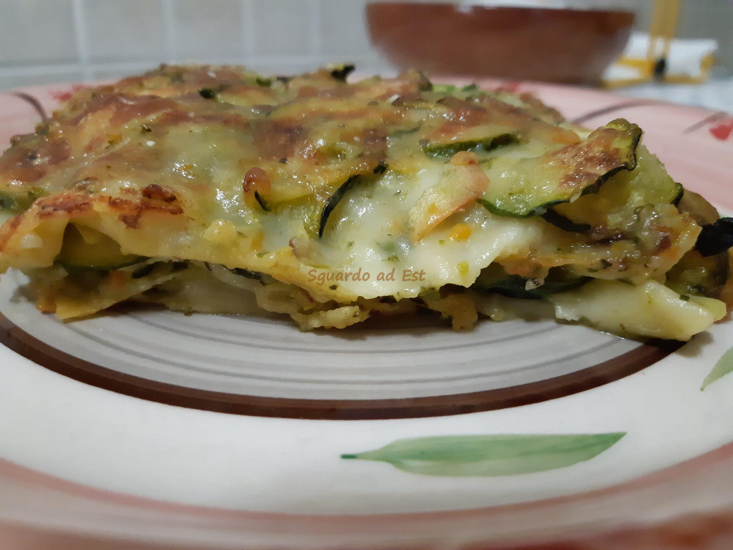 lasagna con besciamella vegana e zucchine
